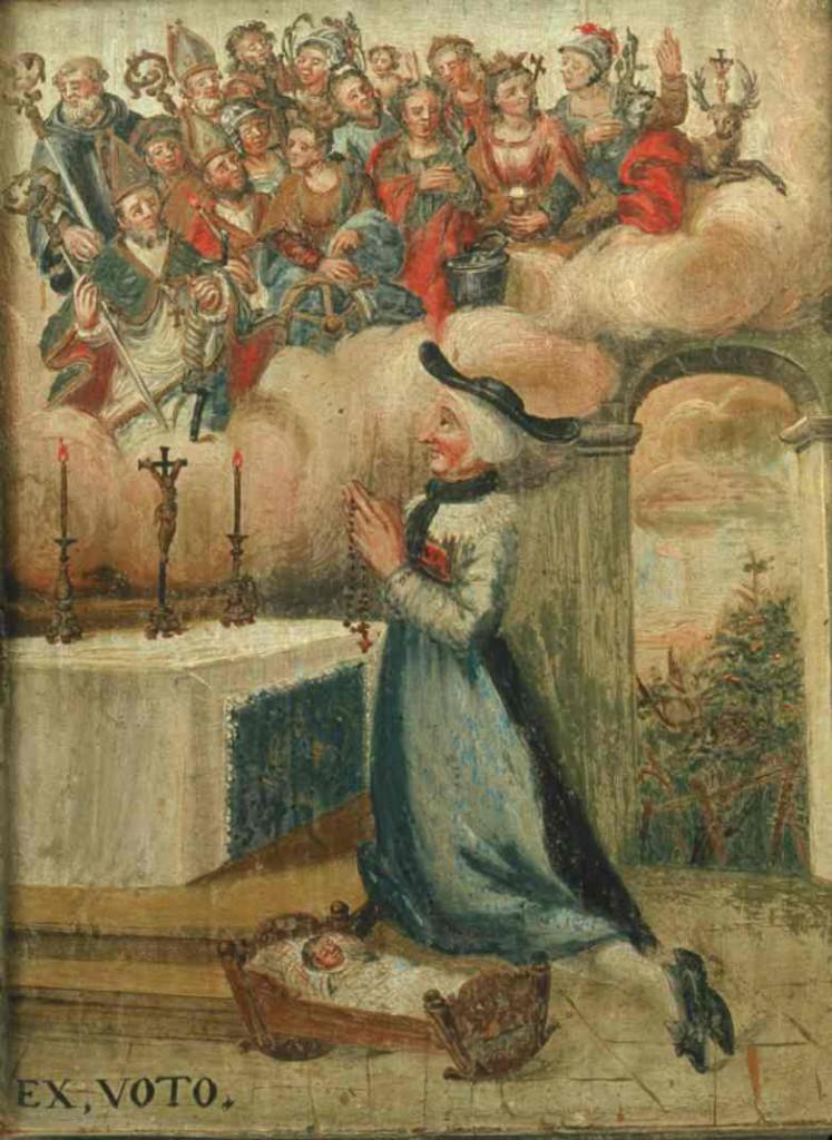 14 Nothelfer mit ihren Attributen in einer Wolke, darunter eine kniende Frau mit ihrem Kind, in der Wallfahrtskapelle Adelwil in Neuenkirch bei Luzern in der Schweiz.