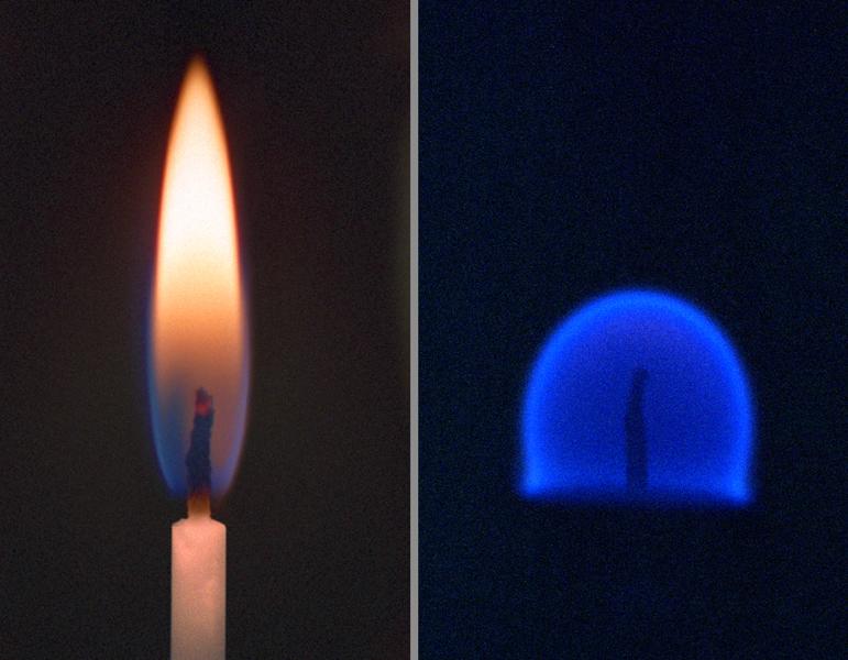 Eine Flamme (links) auf der Erde und in der Schwerelosigkeit (rechts). Bild: NASA / Wikimedia Commons.