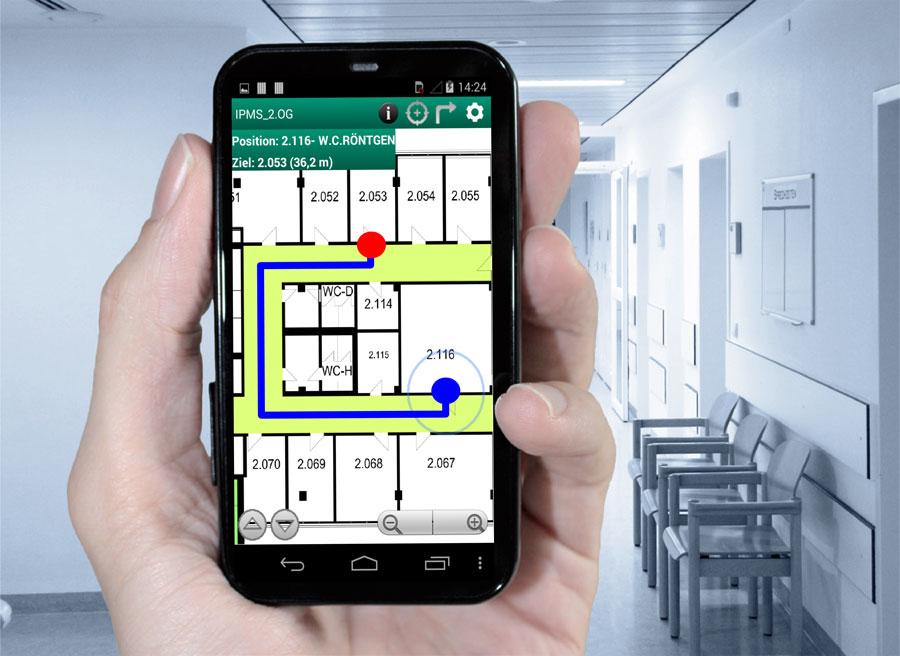 Sich auch in Gebäuden einfach mit einer Navigations-App orientieren: Fraunhofer-Forscher nutzen dafür die WLAN-Signale in Innenräumen. Bild: Fraunhofer-Institut für Photonische Mikrosysteme IPMS