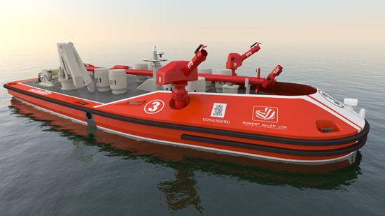 Konzeptstudie eines autonomen Feuerlöschbootes der Firmen Kongsberg und Robert Allan Ltd. Bild: Kongsberg