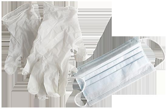 Infektionsschutzhandschuhe und Mundschutz
